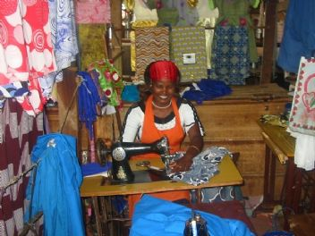 Lorna in her tailoring business